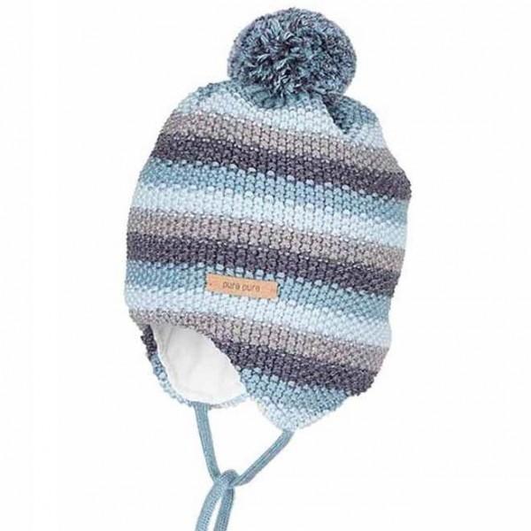 Winter Babymütze aus Biobaumwolle Wolle Seide blau