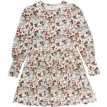 Kleid langarm mit Winterblumen in creme