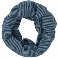 Wolle Seide Schlauchschal Ringel dunkelblau