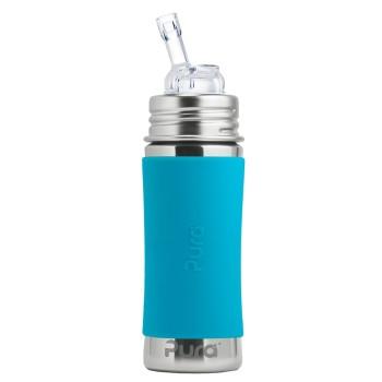 Edelstahl Flasche mit Trinkhalm ab 6 M - open end blau