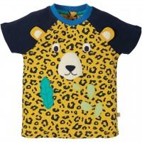 Leoparden T-Shirt mit Öhrchen in navy-gelb