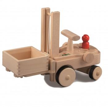 Echtholz Gabelstapler mit Kiste - creamobil