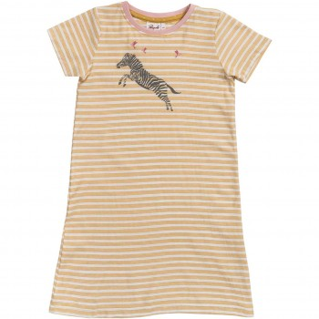 Leichtes Nachthemd Zebra kurzarm gelb
