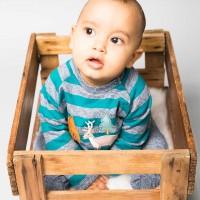 Baby Sweater mit Hirsch-Aufnäher in petrol