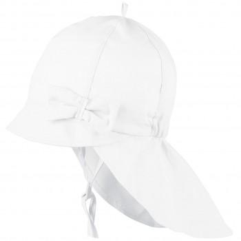 Sommer Mütze Schleife Nackenschutz weiß