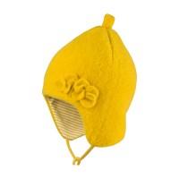 Schicke Wintermütze Fleece innen Biobaumwolle lemon senf