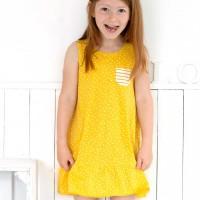 Sommerliches Kleid maritim ohne Arm senfgelb