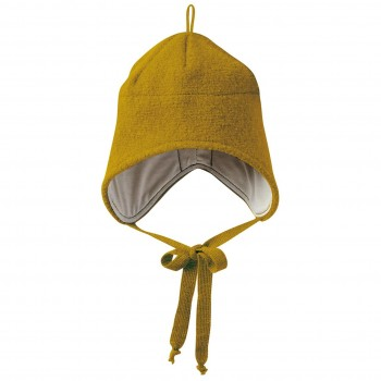 Wintermütze Wolle gold-gelb Ohrenschutz