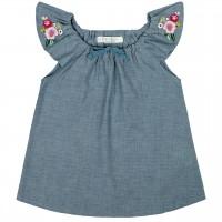 Mädchen Blumen Shirt-Tunika jeansblau