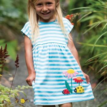 Marienkäfer Mädchen Sommerkleid blau Streifen