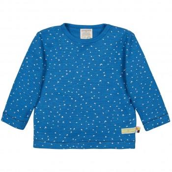 Shirt langarm Waffelstruktur Herzchen blau