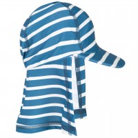 Bademütze Nackenschutz Streifen blau