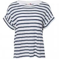 Leichtes Damen Slub T-Shirt Ringel blau