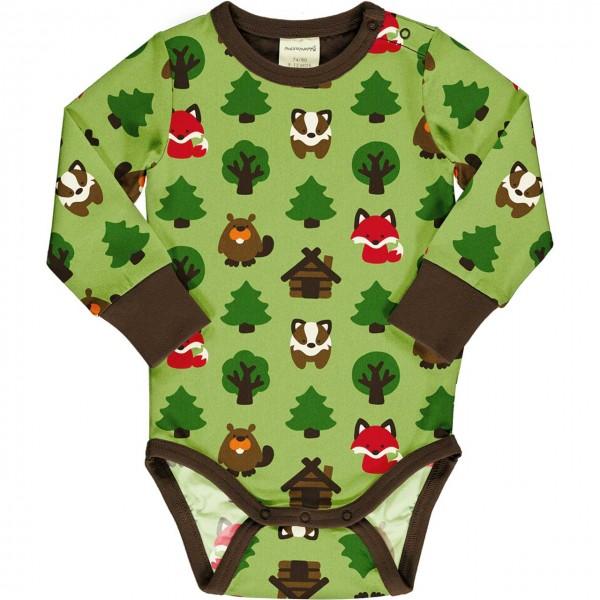 Wald Tiere Body langarm breite Bündchen grasgrün