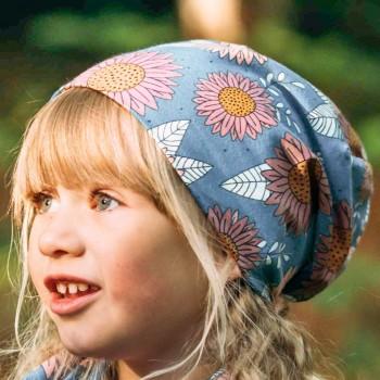 Leichter Beanie Sonnenblumen blau