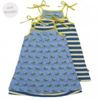 Sommer Jersey Wendekleid Pferde hellblau