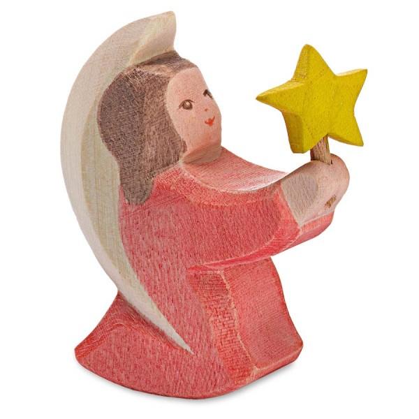 Engelchen mit Stern rosa Holzfigur 6 cm hoch