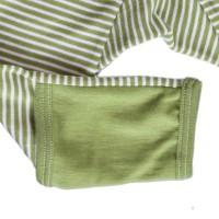 Vorschau: Wolle Seide mitwachsende Babyhose mit Umschlagbund gestreift