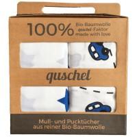 Vorschau: Bio Pucktuch XL 2er Pack Sterne & Autos blau