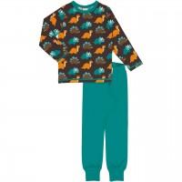 Dinosaurier Schlafanzug langarm in dunkelbraun
