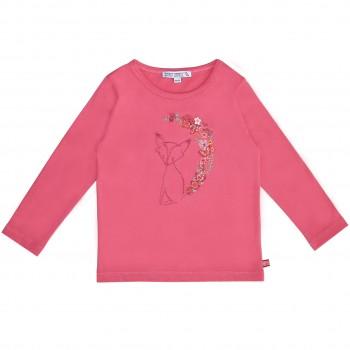 Langarmshirt mit Fuchs Stickerei pink