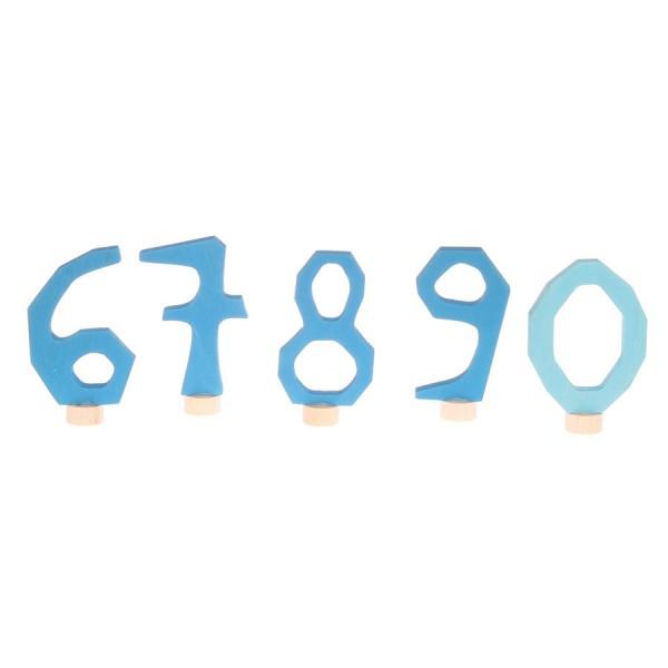 Grimms Zahlenstecker Set 6-9 & 0 blau