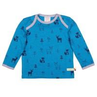 Wolle Baumwolle Shirt Waldtiere petrol