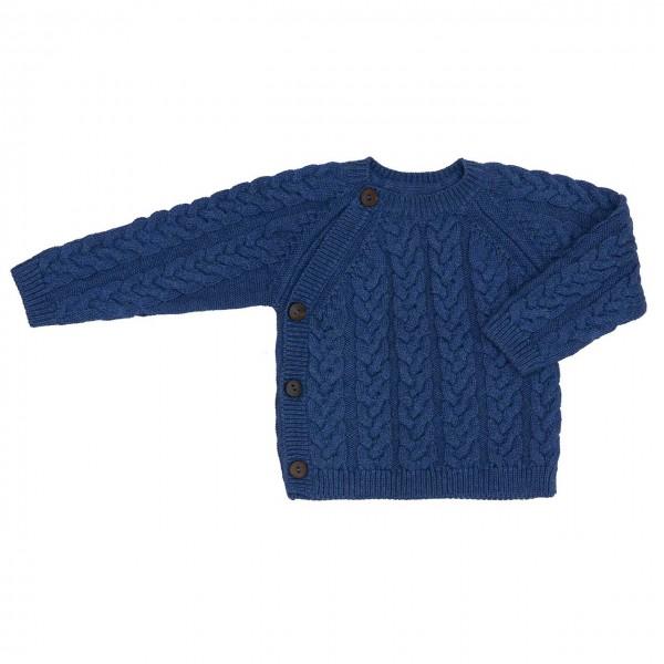 Puri Wickel Strickpullover blau