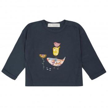 Navy Shirt Vögelchen Aufnäher