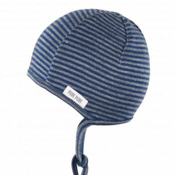 Dünne Erstlingsmütze Wolle Seide blau