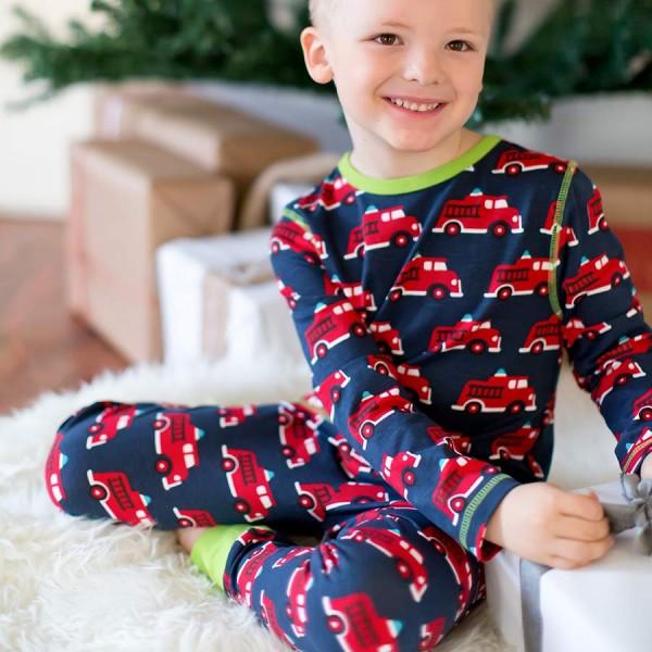 Kinder Schlafanzug leicht ganzjährig Firetruck