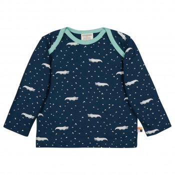 Leichtes Shirt langarm Krokodile dunkelblau