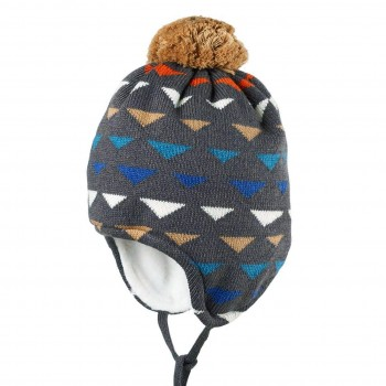 Warme grau-braun Wintermütze Wolle Seide