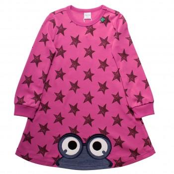 Pinkes Sternen Kleid langarm