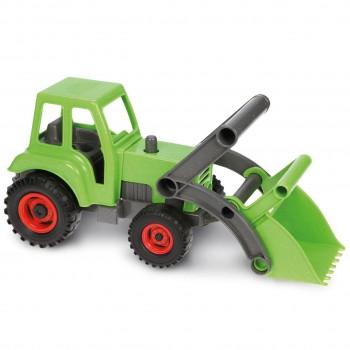 Traktor Kunststoff Holz Gemisch - verzinkte Stahlachsen grün