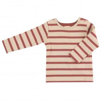 Edles Shirt creme-altrosa gestreift