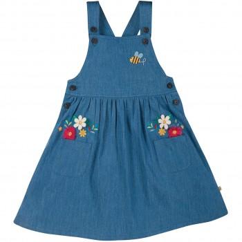 Trägerkleid in jeans-blau Blumen
