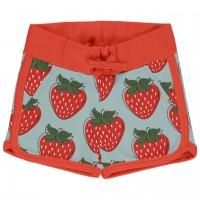Sommerliche Sweat Shorts Erdbeeren hellblau rot