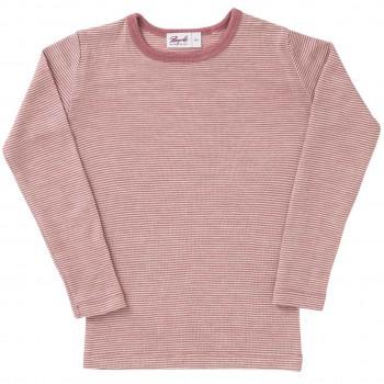 Wolle Seide Langarmshirt Ringel rosé