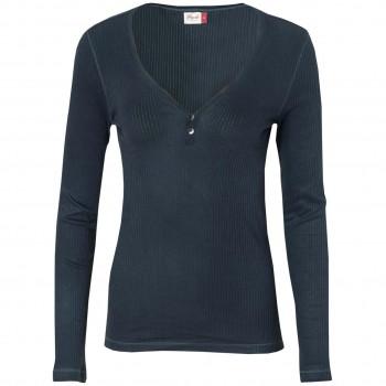Damen Langarmshirt Rippoptik in dunkelblau