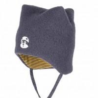 Warme Wintermütze mit Bindemöglichkeit - grau
