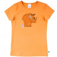 Shirt kurzarm Nashorn Druck in hellem orange
