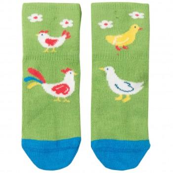 Baby Socken 1 Paar grün Huhn