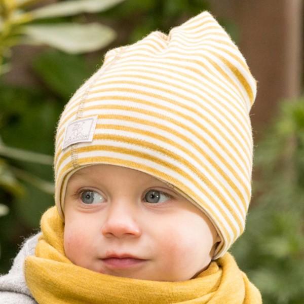 Baby//Kinder Schlauchschal Loop geringelt reine Bio-Merinowolle