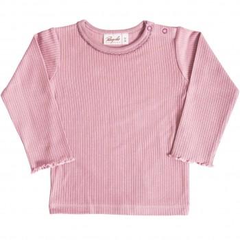 Mädchen Shirt langarm Rippoptik in rosé