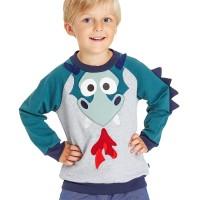 Pullover Sweat mit Aufnäher und Drachenzacken