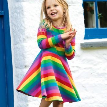 Mädchen Kleid langarm mit Farmtieren Regenbogen-Optik