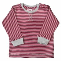 Bio Baby Shirt softe Bündchen rot grau