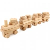 Holz Stapelzug mit 18 Bausteinen – ab 10 Monaten