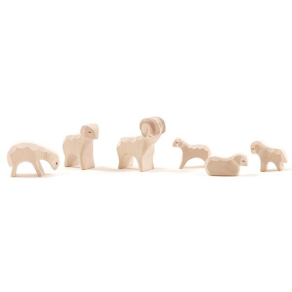 MINIATUR Schafgruppe 6 Teile für Weihnachtskrippe 4,5 cm